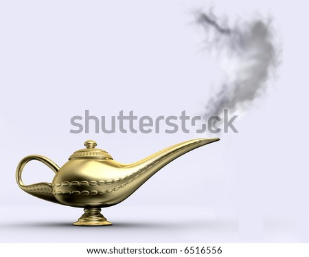 A gloden aladin lamp on white background - rendered in 3d