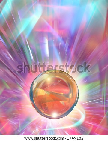 A glowing crystal ball agains a sparkling backdrop