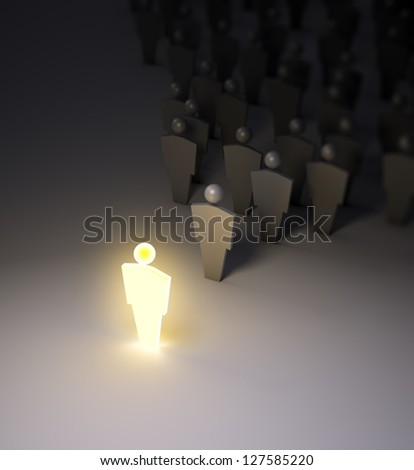 A glowing 3d figure standing out of the crowd.