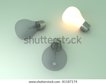 A glowing light bulb between others. 3D rendered Illustration.