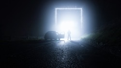 A glowing, portal, gateway on a country road. With a man standing next to a car. On a spooky, foggy, winters night. Science fiction concept.