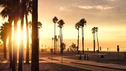 A glowing sunrise over Belmont Shore in Long Beach, California.