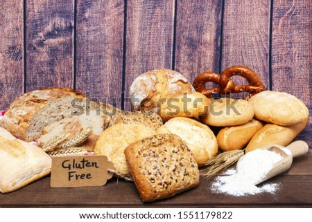 Photo of a gluten free breads on wood background - image