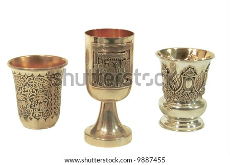 A goblets for passover against the white background.