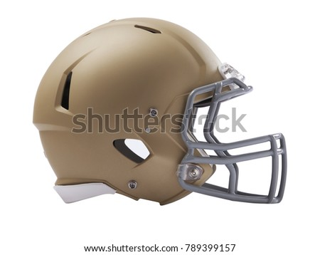 A gold and gray modern American football helmet isolated on a white background