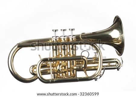 A gold brass cornet trumpet isolated against a white background in the horizontal format.
