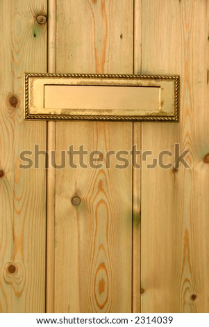 A gold color letterbox in a wooden door.