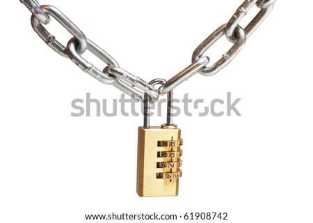 a gold combination lock on white