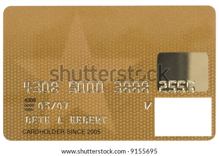 A gold credit card shot straight on. Numbers are fake.