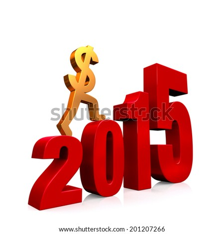 "A gold dollar sign climbing red steps forming from the year, ""2015"". On white with drop shadow."