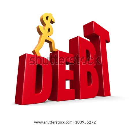 """A gold dollar sign climbing steps forming the word, """"DEBT"""". On white with drop shadow."""