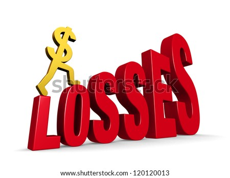 "A gold dollar sign climbing steps forming the word, ""LOSSES"". On white with drop shadow."