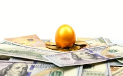 A gold egg lying on dollars and coins isolated on white background. Gold nest egg and money concept for retirement savings and financial planning, investment concept
