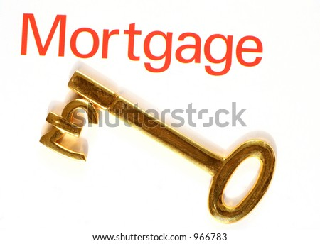 """A gold key with the pound symbol, next to the word """"mortgage"""""""