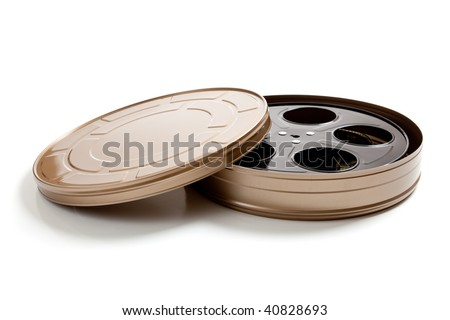 a Gold movie film canister on a white background