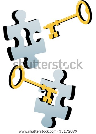 A gold or brass key to find a solution to a lock as a jigsaw puzzle piece. - stock photo