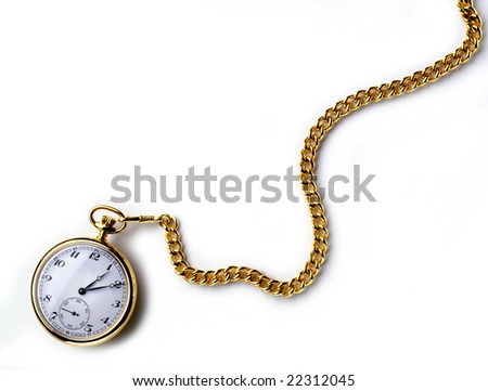 A gold pocket watch with chain on white