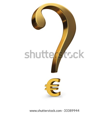 A gold question mark incorporating a euro symbol as it's dot.