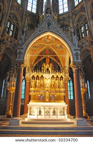 A gold sacred altar in a cathedral at Vienna, Austria, Europe