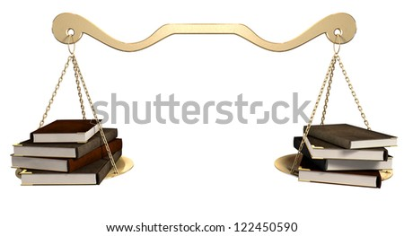 A gold scale that it balanced with a set of leather books  on either end on an isolated background