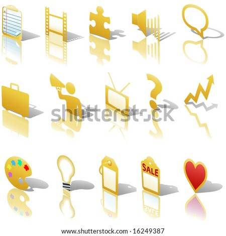 A gold web Communications or Media business icon set, angled with reflections and shadows. Website symbols.