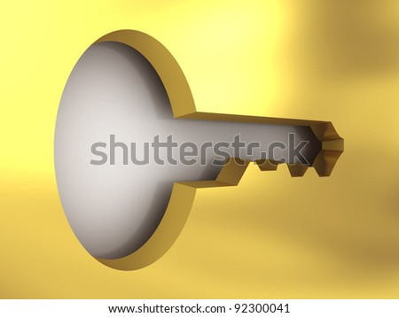 A golden access key. 3D rendering image - stock photo