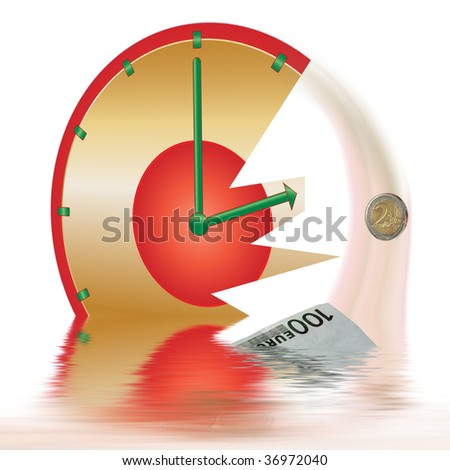 a golden and red clock is broken and sinking, hundred euro sinking in water, euro falling down