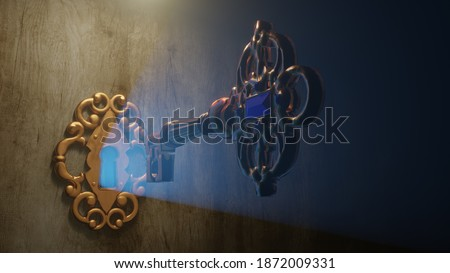A golden brass key unlocks the old door lock with the light shining through the keyhole. 3D illustration Photo stock ©