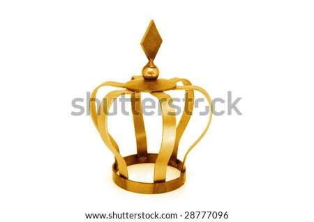 A golden crown on a white background