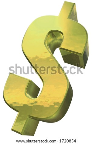 A golden Dollar symbol against a white background