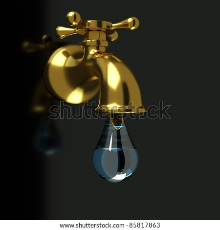 a golden faucet with a water drop