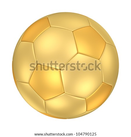 A golden football isolated on white background. Computer generated image with clipping path. - stock photo