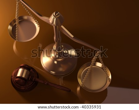 A golden justice scale and gavel - 3d render