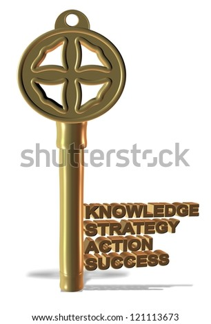 A golden key made from basic business words / Business key