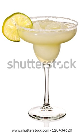 A Golden Margarita with a Lime on the SIde Isolated