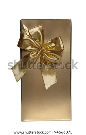 a golden present with a bow