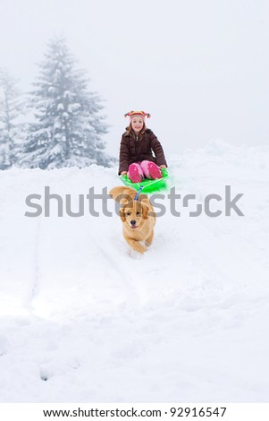 A golden retriever dog pulling a child on a sled down a snow covered hill.
