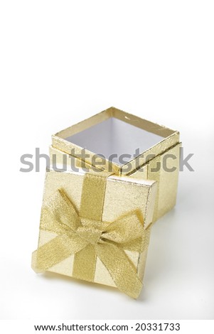 A golden shiny box for gifts