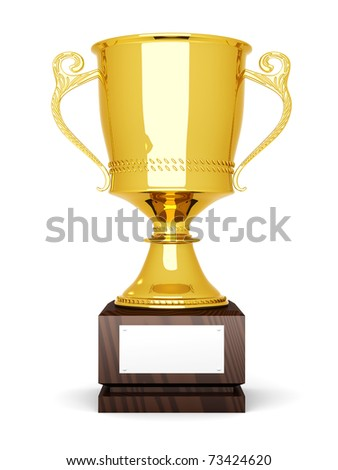 A golden trophy with a blank plate for custom text. 3D rendered Illustration. Isolated on white.