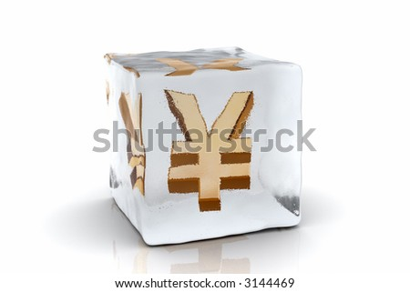 A golden Yen symbol frozen inside an ice cube (3D rendering)