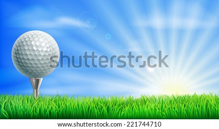 A golf ball on its tee in a green grass field golf course with sun rising.