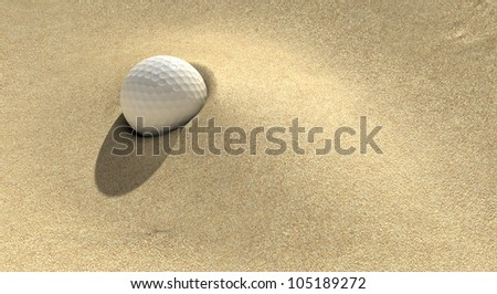 A golf ball plugged deep in a sand trap