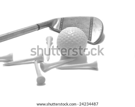 A golf club with wooden tees and ball in black and white.