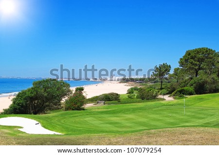 A golf course near the beach in Portugal. Summer.