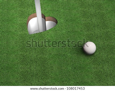 a golf hole shaped like a heart; metaphorical image for all golf enthusiasts