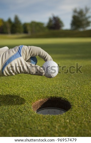 A golfer dropping his shot into the hole by hand. Cheating a little.