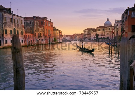 A Gondola on Grand Canal, Venice, Italy.