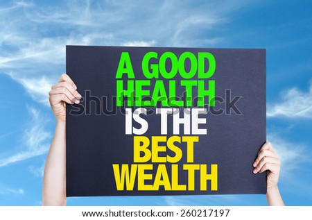 A Good Health is the Best Wealth card with sky background