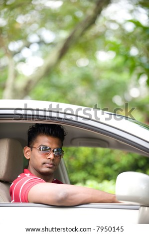 Goodlooking Indian Man Sunglasses Sitting Drivers Stock