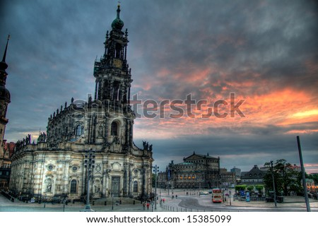 A gorgeous HDR image of a famous cathedral in Dresden, Germany